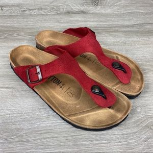 Bayton Women's Red Leather Sandals Size 10 EUR 41